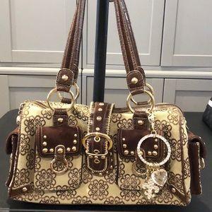 Kathy Van Zeeland canvas, faux suade & leather bag